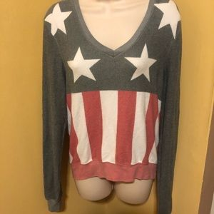 Wildfox XS USA flag baggy beach jumper